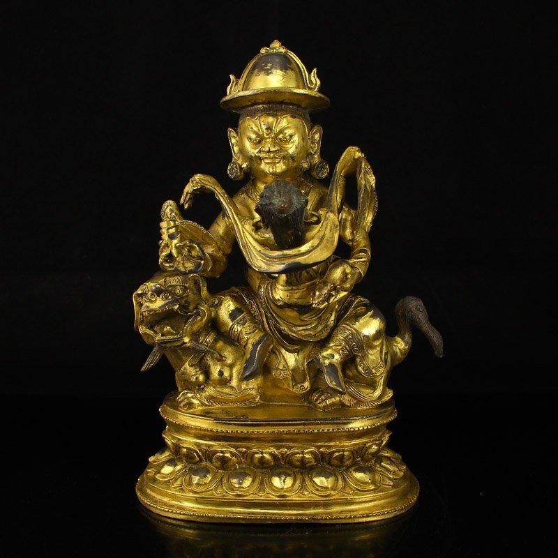 Tibet Gilt Gold Bronze Mandkesvara Buddha Statue