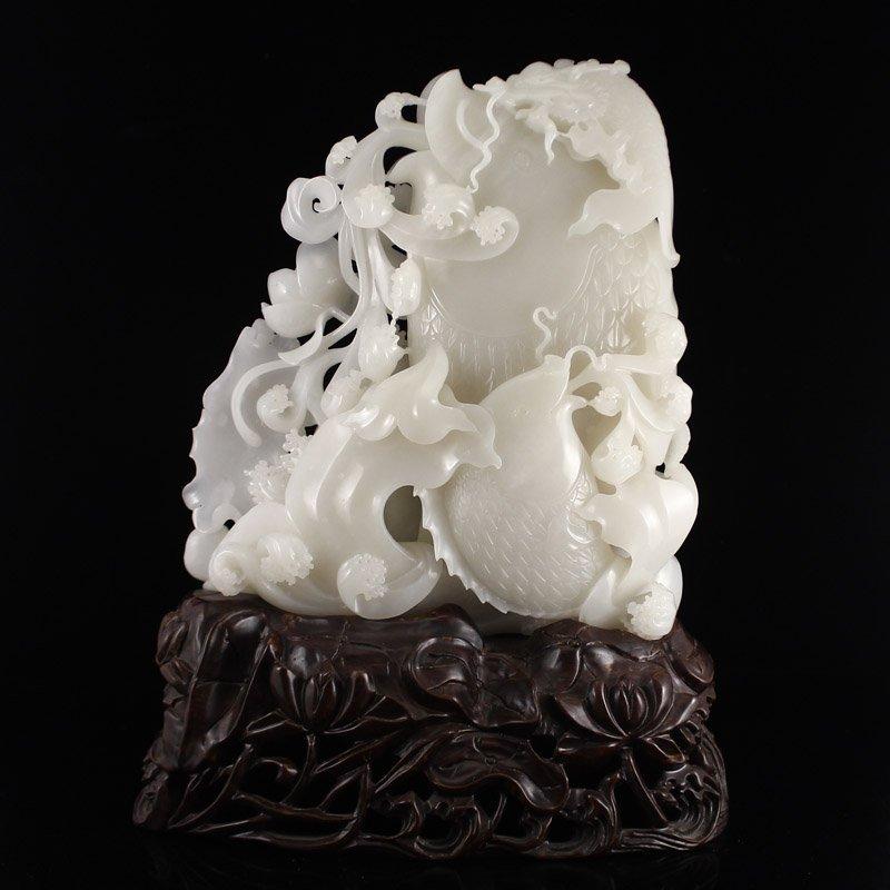 Chinese Qing Dy Hetian Jade Statue - Carps & Lotus
