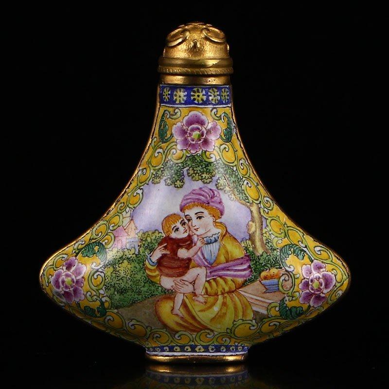 Chinese Gilt Gold Bronze Cloisonne Snuff Bottle