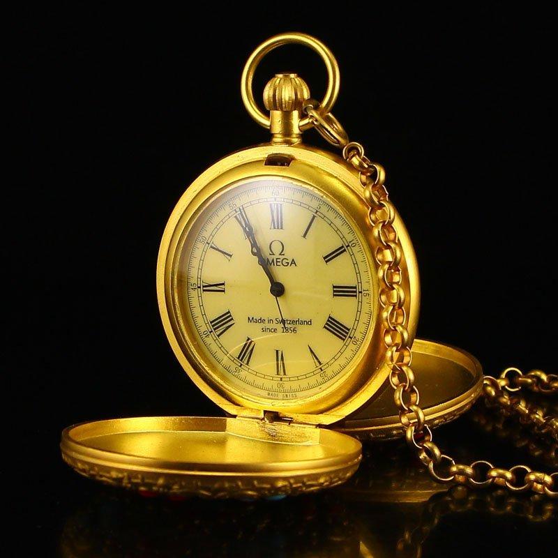 Vintage Gilt Gold Bronze Machinery Pocket Watch