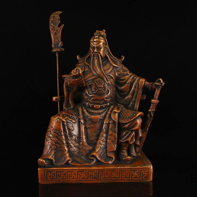 Vintage Chinese Red Copper Guangong Statue