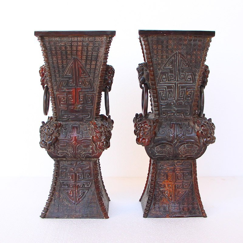 A Pair Chinese Qing Dynasty Ox Horn Double Rings Vases
