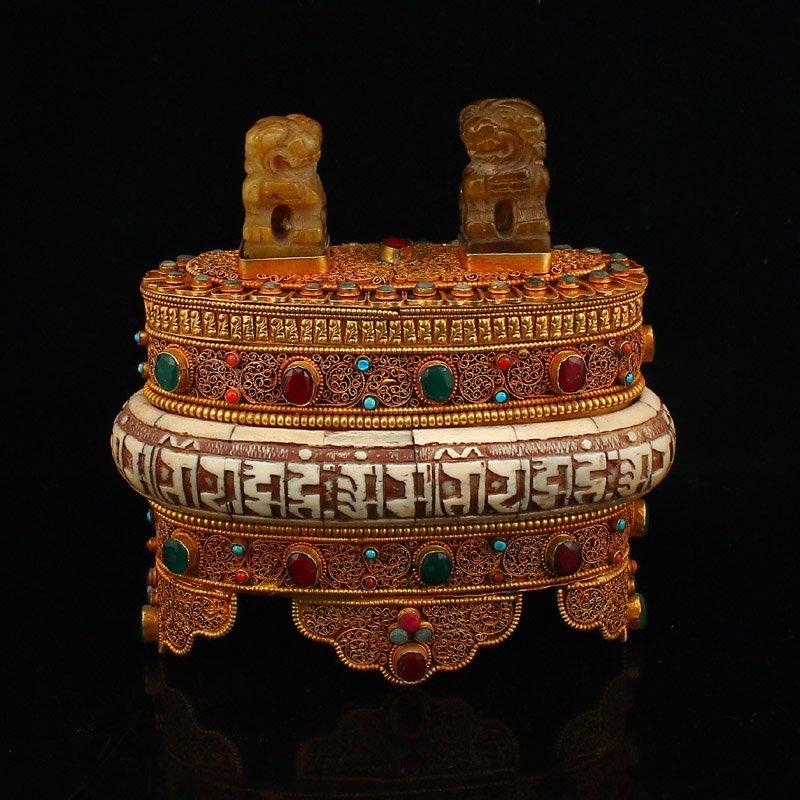 Gold Wire Inlay Gems ,Bone & Jade Sutra Book Box