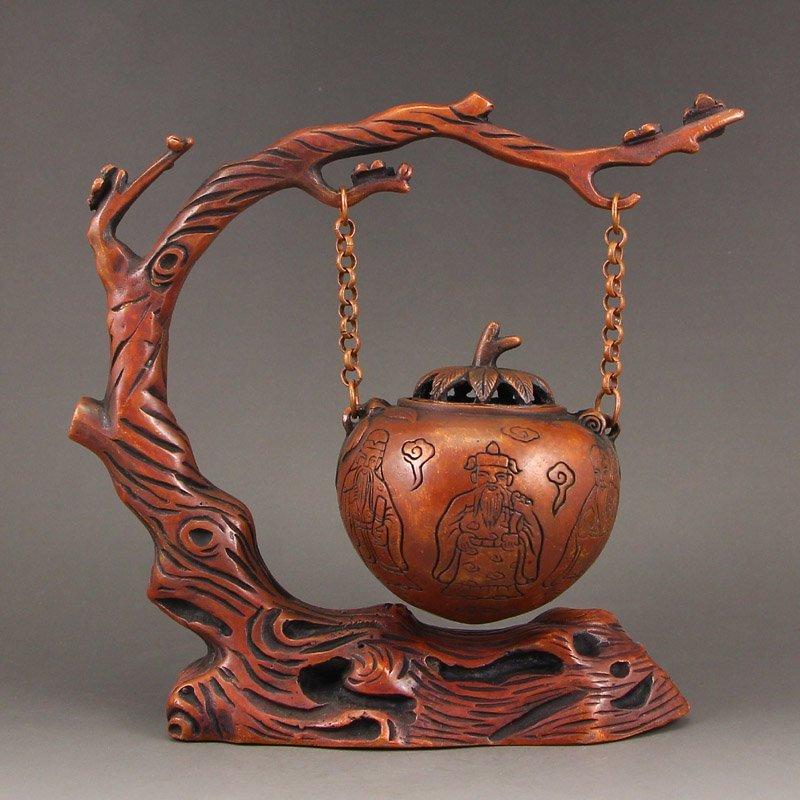 Vintage Chinese Red Copper Incense Burner