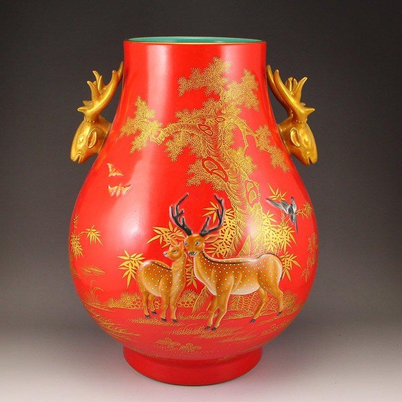 Chinese Gilt Gold Red Glaze Deer Heads Porcelain Pot
