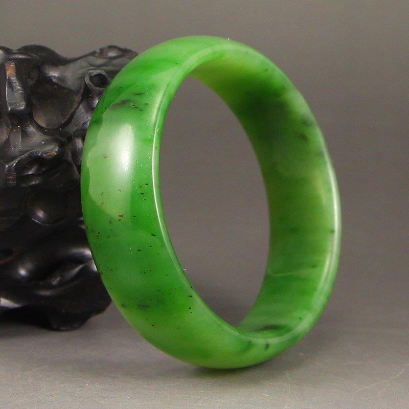 Inside Diameter 55 mm China Green Hetian Jade Bracelet