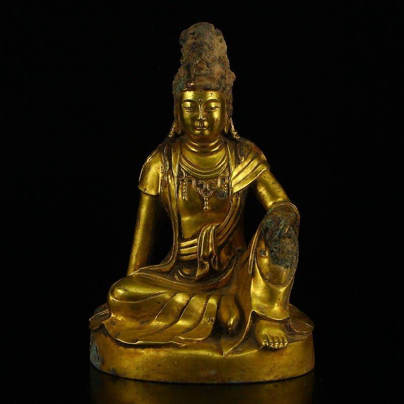 Vintage Tibetan Gilt Gold Bronze Kwan-yin Statue