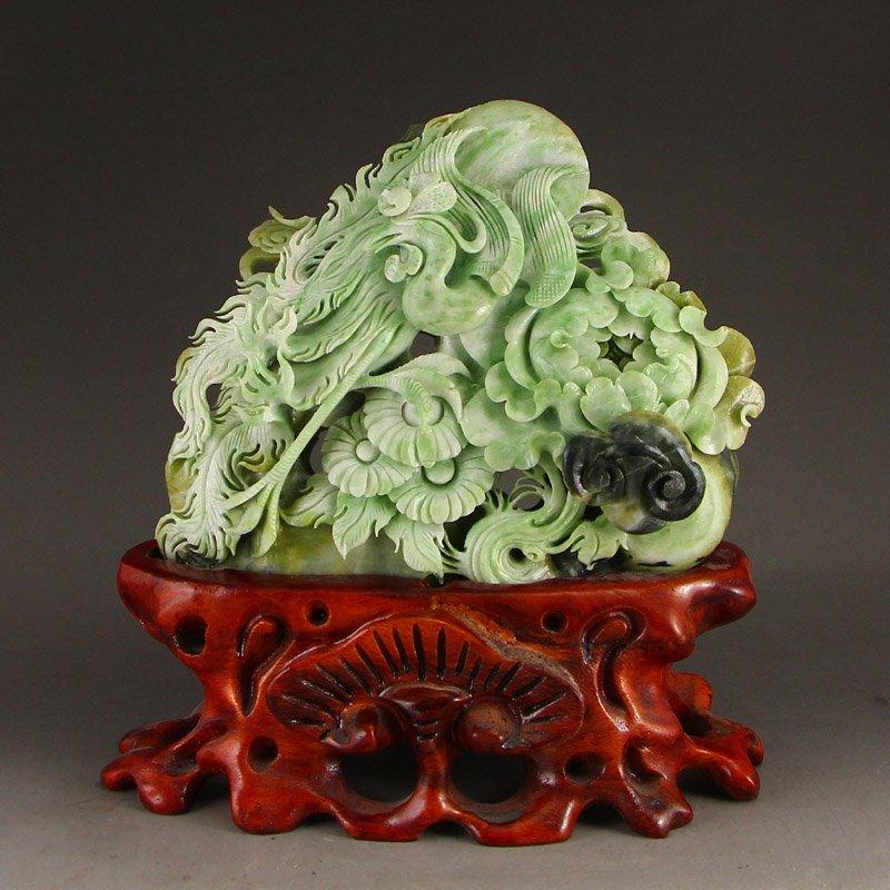Chinese Dushan Jade Statue - Phoenix & Flower