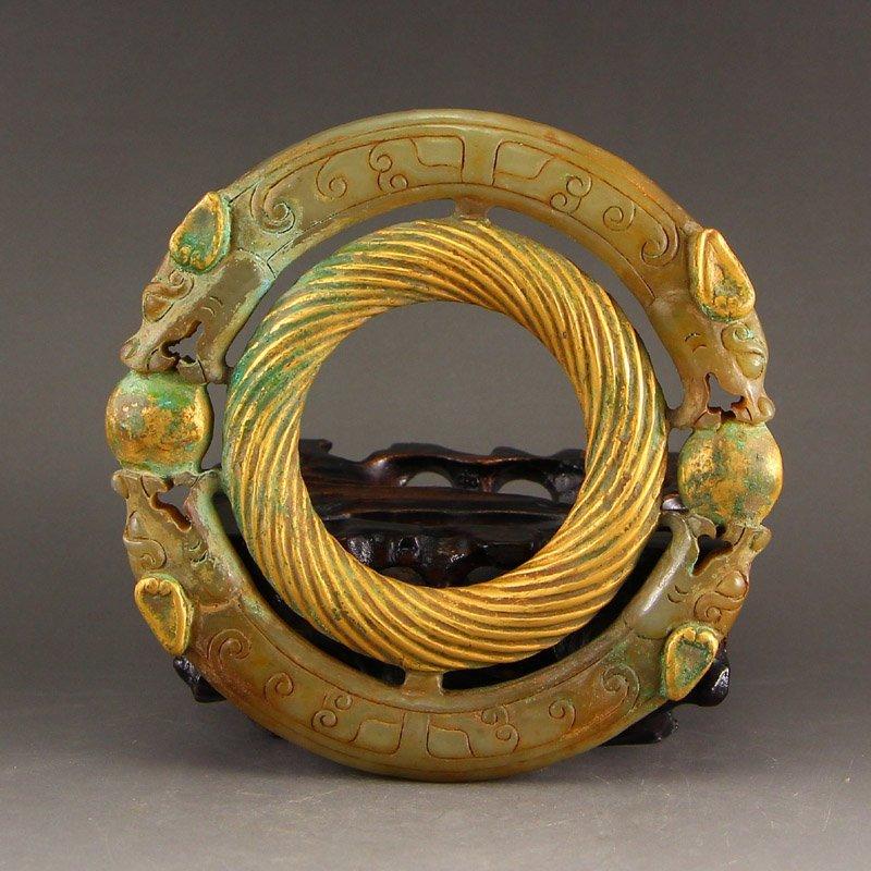 Vintage China Gilt Gold Hetian Jade Chi Dragons Pendant