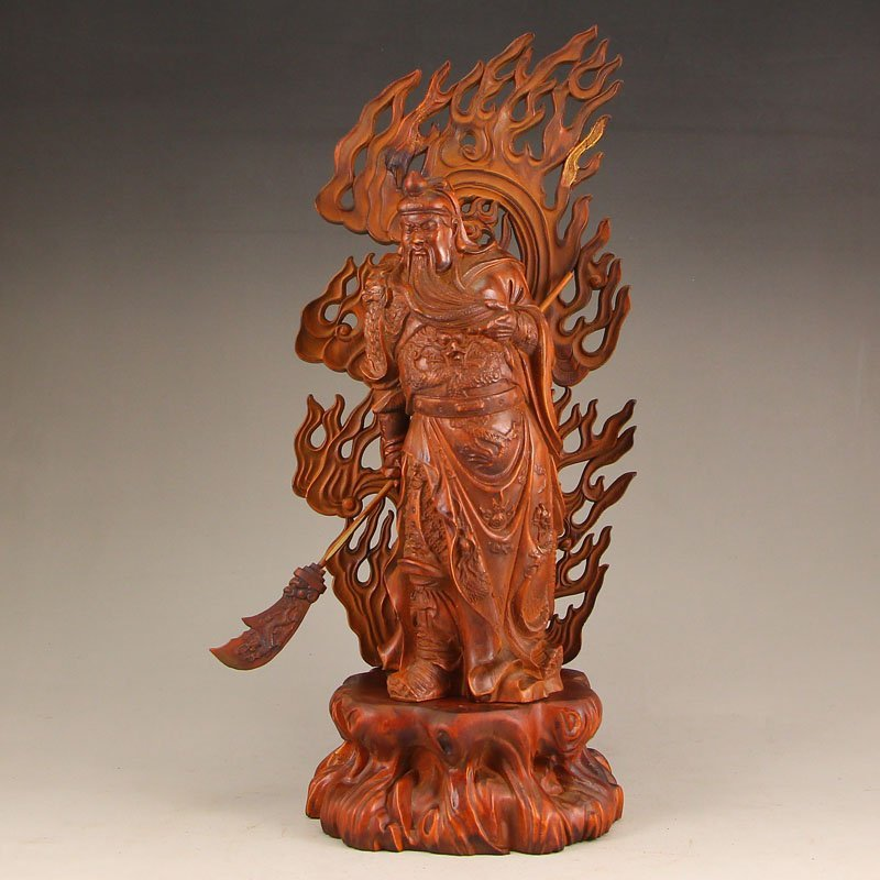 Vintage Chinese Boxwood Wood Statue - Guangong