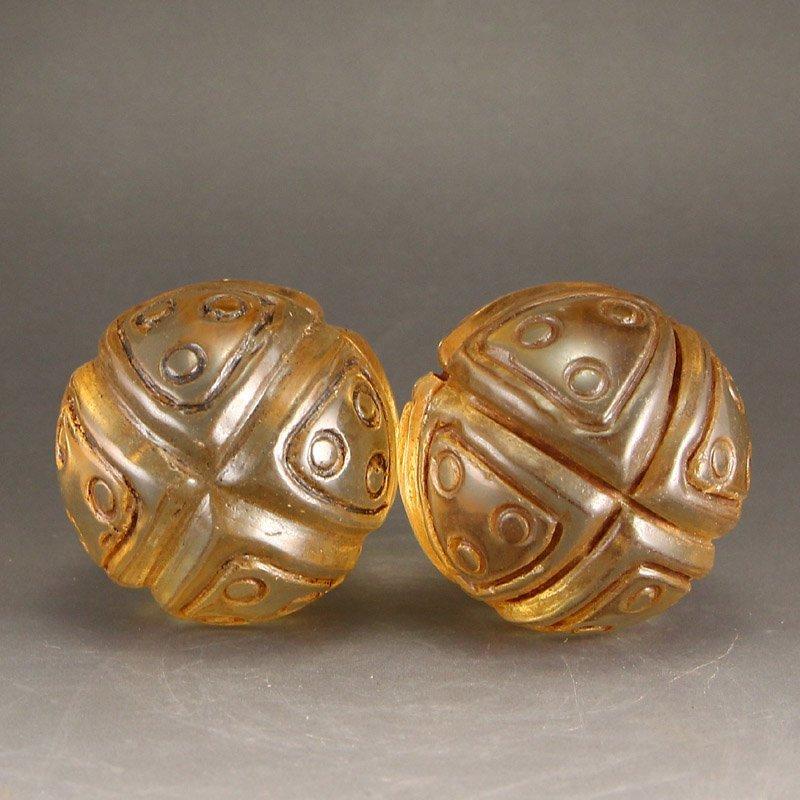 A Pair Vintage Chinese Crystal Gymnastic Balls
