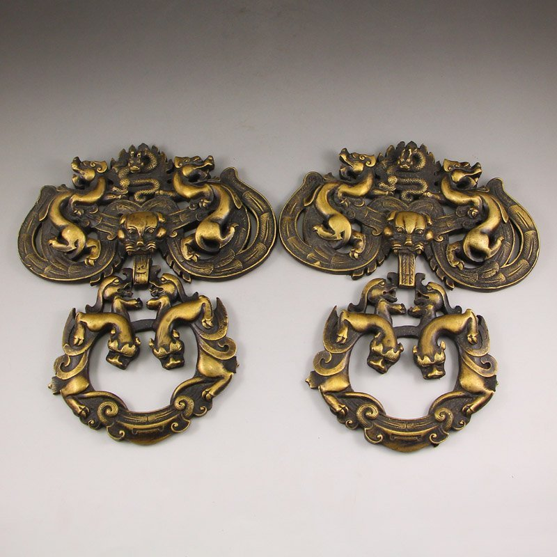 A Pair Vintage Chinese Brass Chi Dragons Doorbell