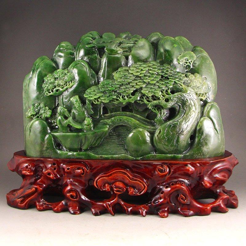 Chinese Green Hetian Jade Statue - Sages & Pine Tree