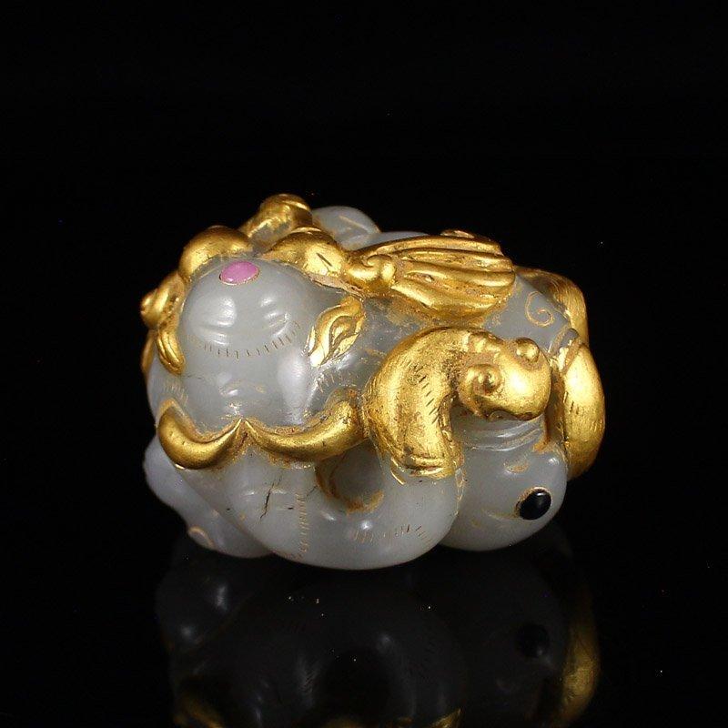 Hetian Jade Inlay Gold Wire & Gems Elephant Statue