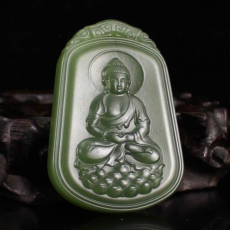 Chinese Green Hetian Jade Pendant - Buddha