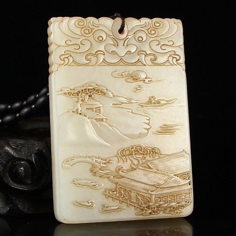 Vintage China Hetian Jade Mountain River Scene Pendant