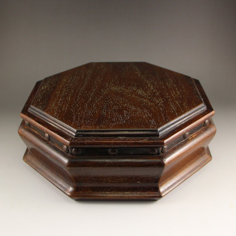 Vintage Chinese Zitan Wood Jewelry Box