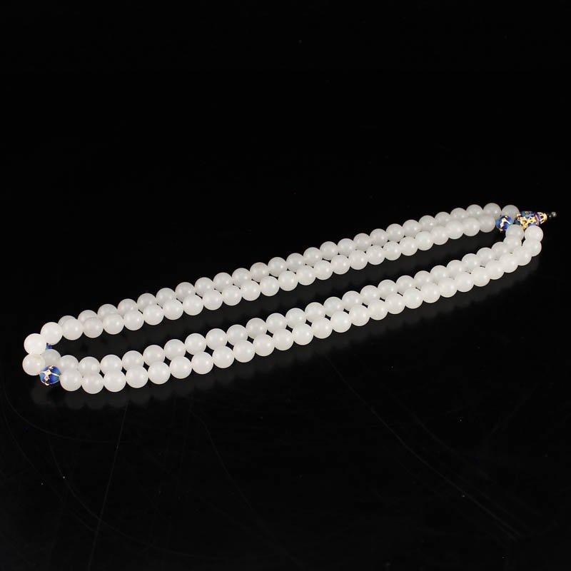 Gilt Gold Cloisonne 8 mm 108 Beads Hetian Jade Necklace
