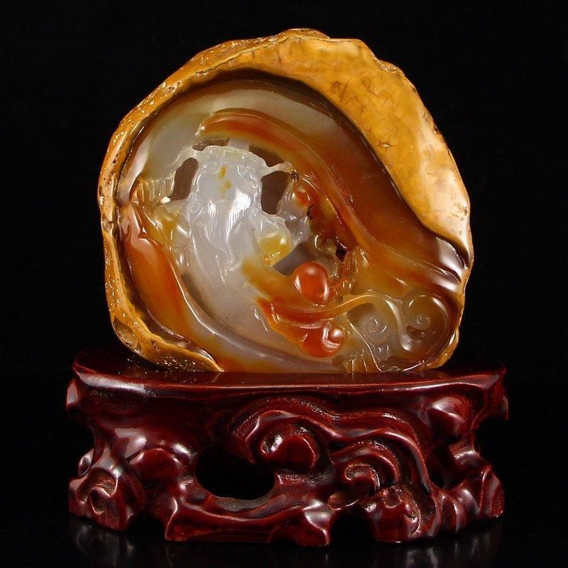 Chinese Natural Agate Statue - Fish & Lotus
