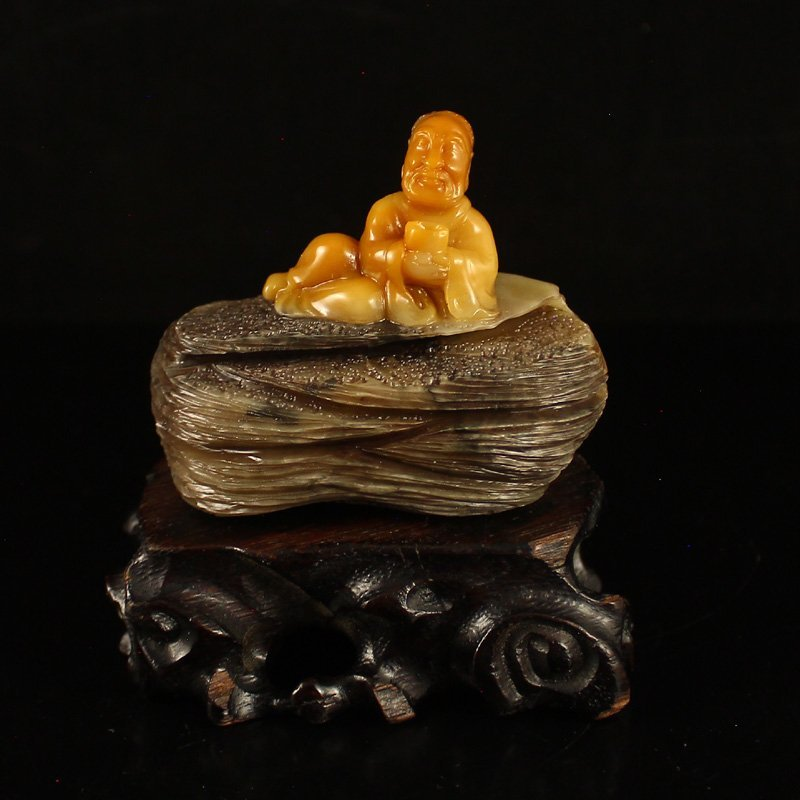 Chinese Shoushan Stone Statue - Long Life Old Man