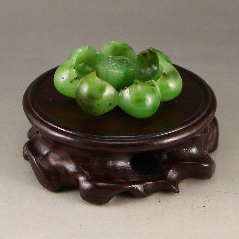 Chinese Natural Green Hetian Jade Lotus Statue