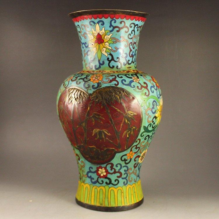Vintage Chinese Bronze Cloisonne Big Vase