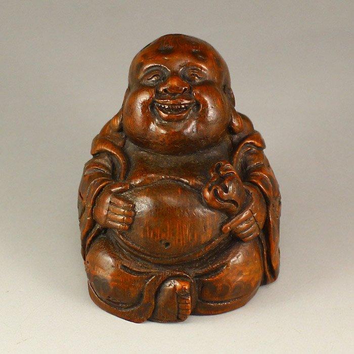 Vintage Chinese Bamboo Laughing Buddha Statue