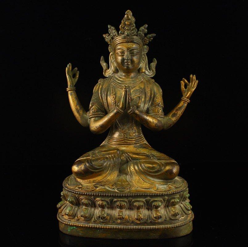 Tibet Gilt Gold Bronze Four Arms Kwan-yin Statue