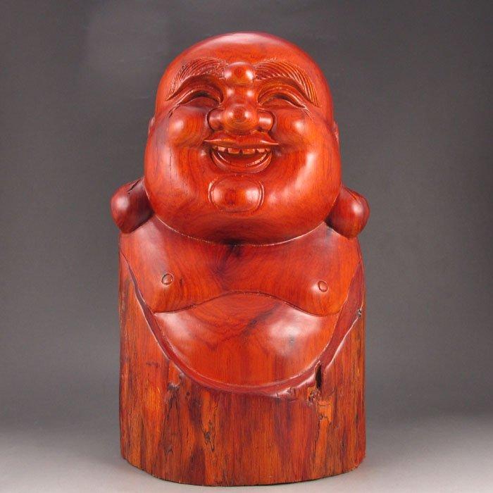 Chinese Huali Wood Laughing Buddha Statue