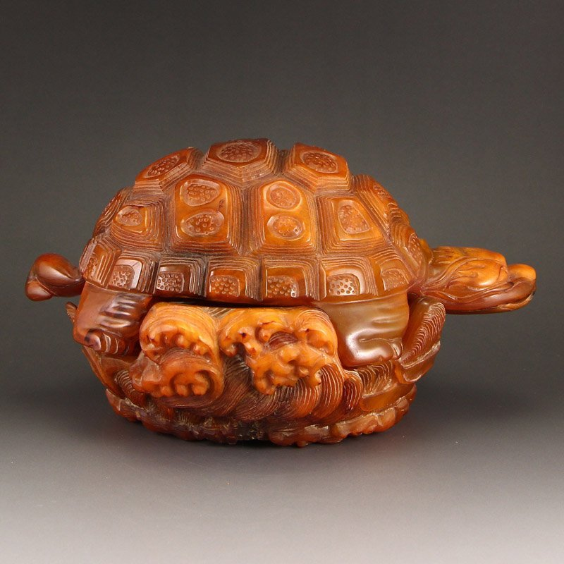 Vintage Chinese Ox Horn Sea Turtle Statue