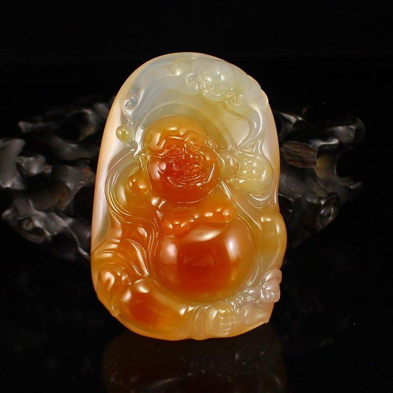 Beautiful Chinese Agate Laughing Buddha Pendant