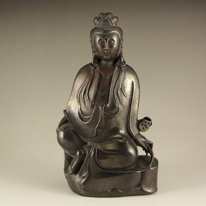 Vintage Chinese Bronze Kwan-yin Statue