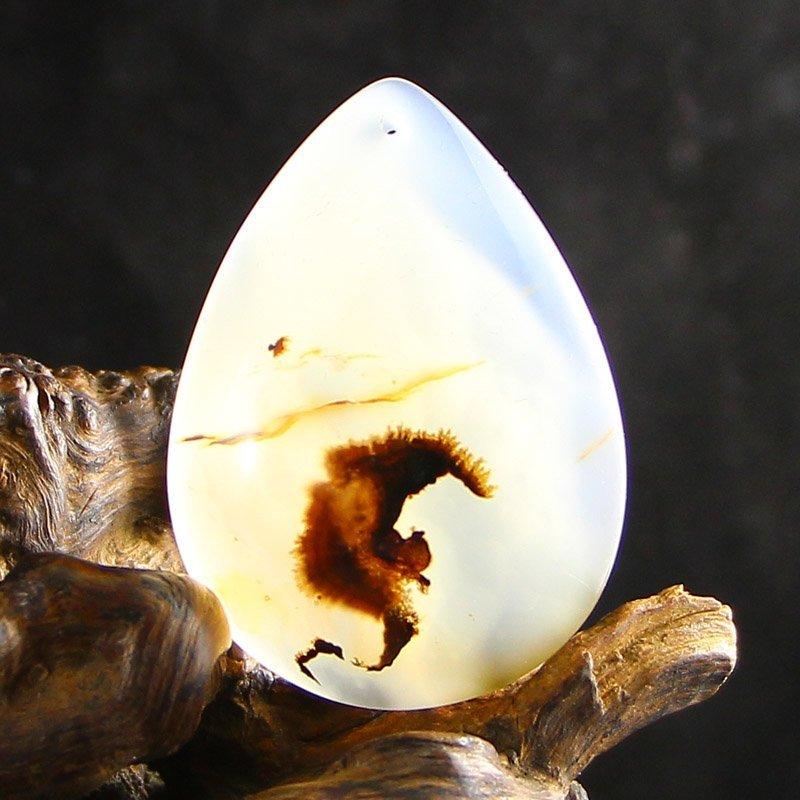 Chinese Natural Shui Cao Agate Pendant - Bat