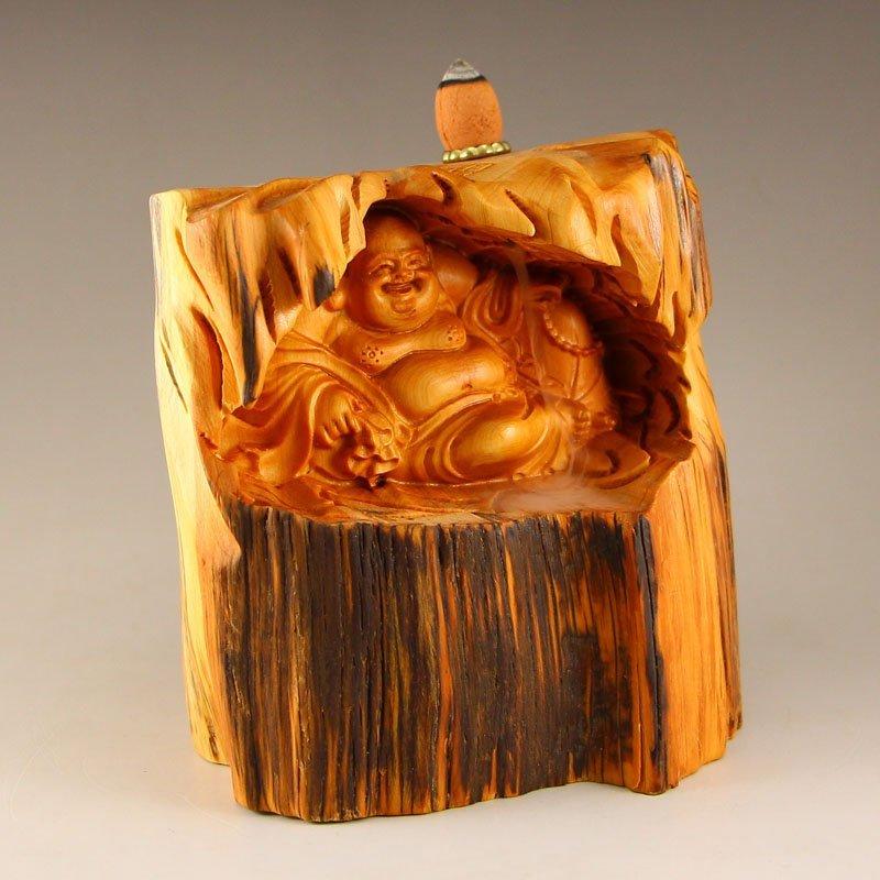Chinese Thuja Sutchuenensis Wood Laughing Buddha Statue