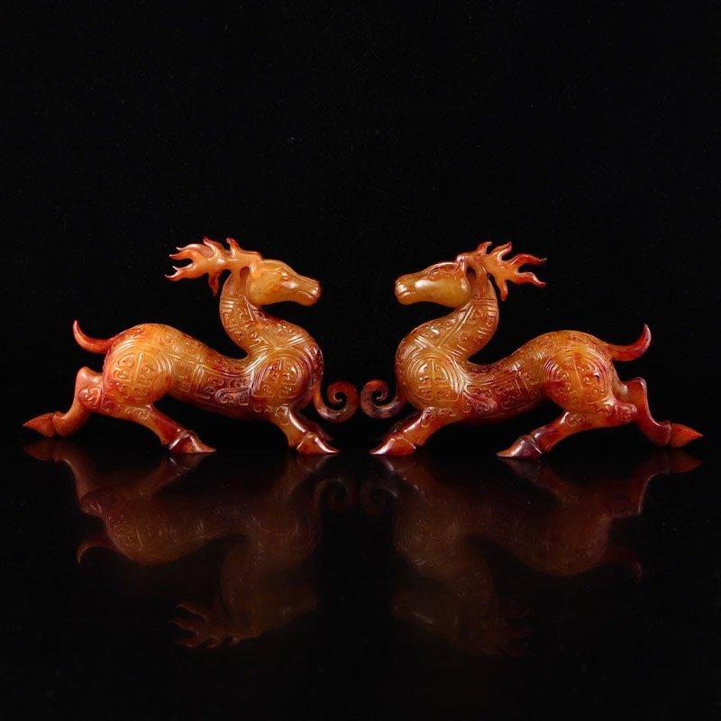 A Pair Chinese Han Dynasty Hetian Jade Deer Statue