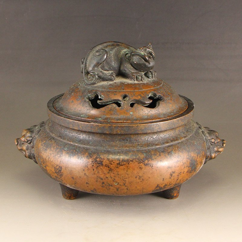 Chinese Ming Dynasty Red Copper Unicorn Incense Burner