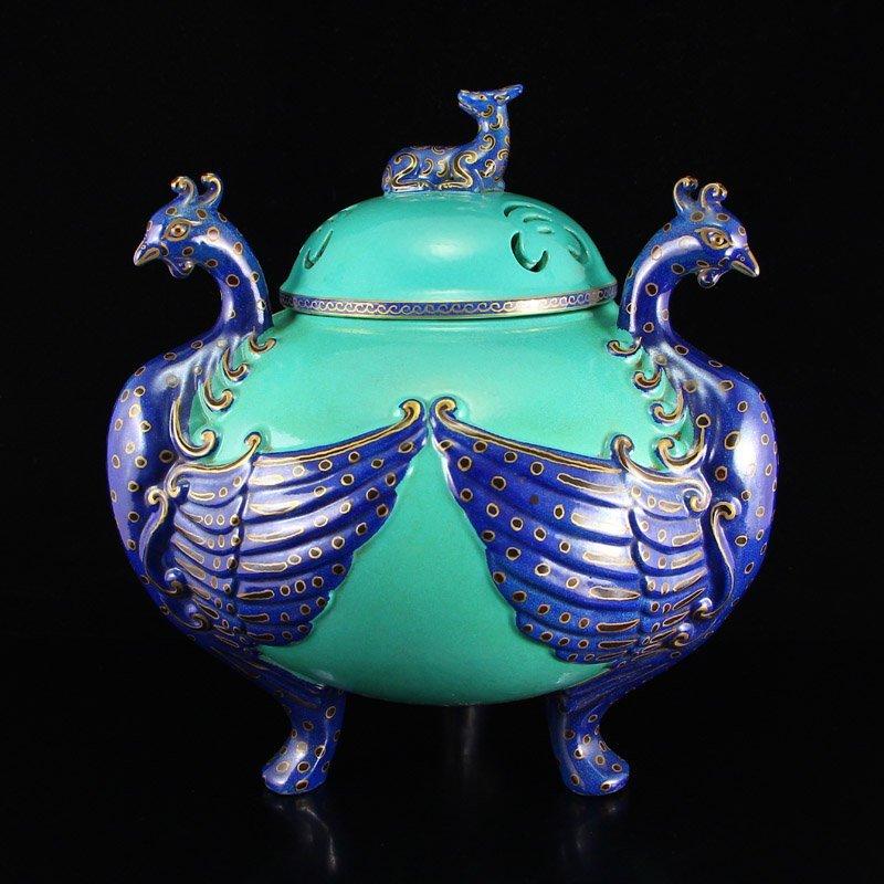 Chinese Gilt Gold Blue Glaze Porcelain Incense Burner