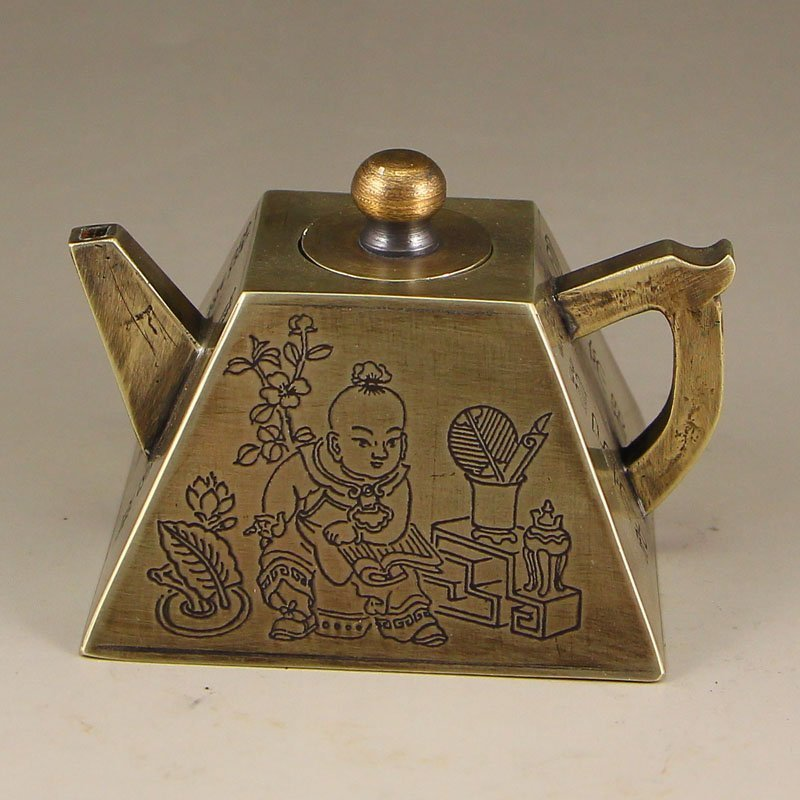 Vintage Chinese White Copper Teapot