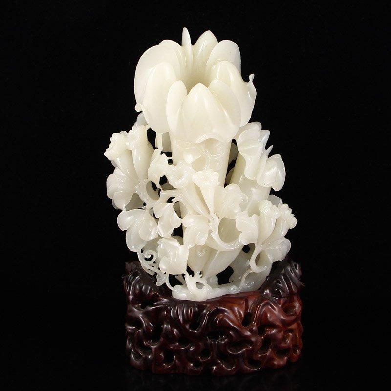Openwork Chinese Hetian Jade Flower Statue