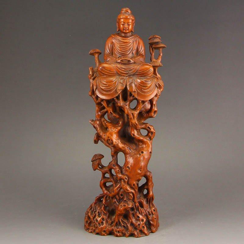 Vintage Chinese Boxwood Wood Statue - Buddha