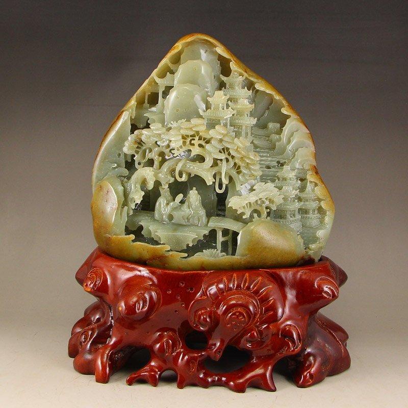 Chinese Natural Hetian Jade Statue - Sages & Pine Tree