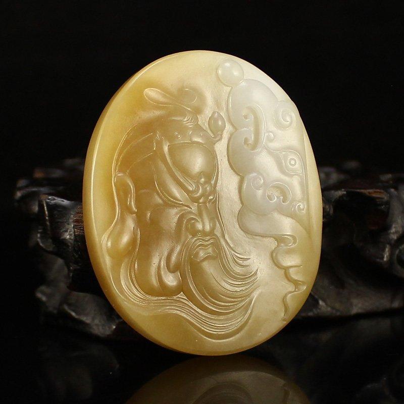 Chinese Natural Hetian Jade Pendant - Guan Gong