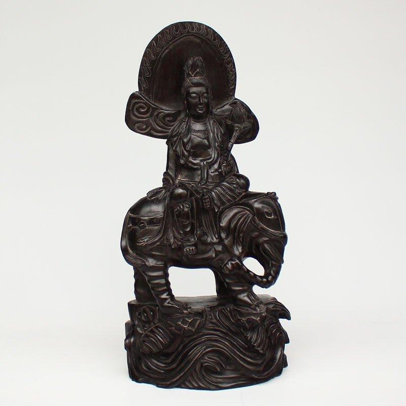 Chinese Rosewood Wood Statue - Samantabhadra & Elephant