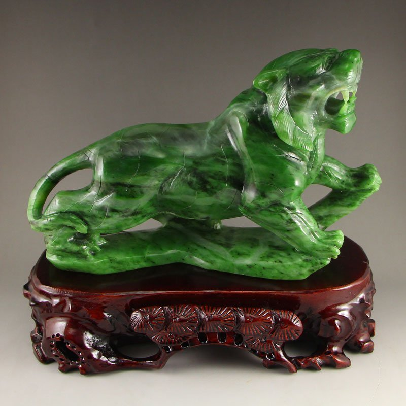 Chinese Natural Green Hetian Jade Statue - Tiger