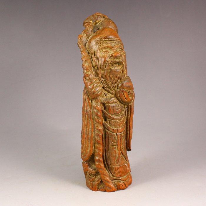 Chinese Bamboo Statue - Longevity Taoism Deity