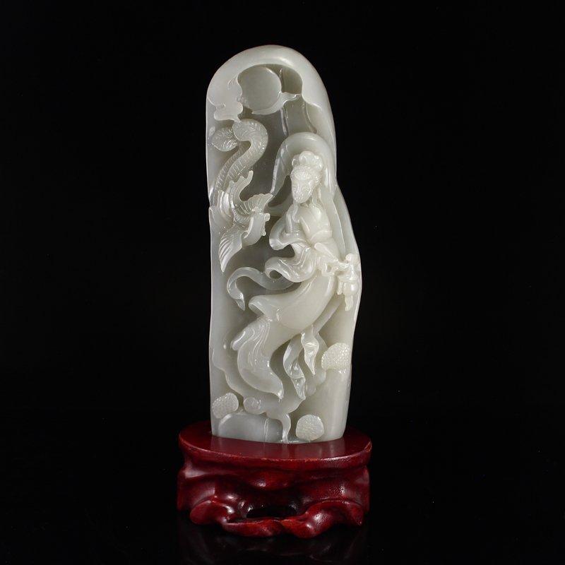 Chinese Natural Hetian Jade Statue - Beautiful Girl