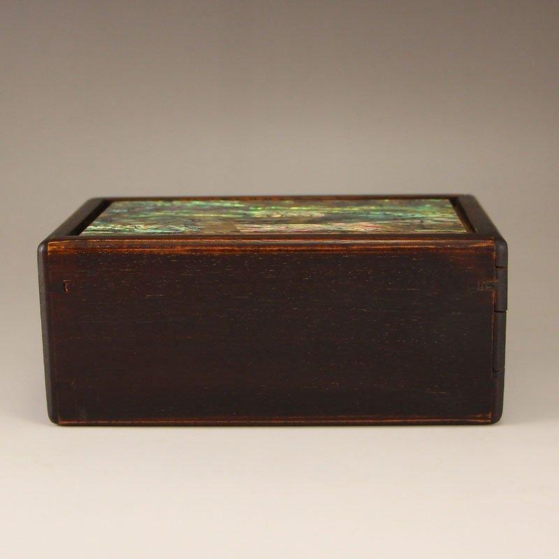 Vintage Chinese Zitan Wood Inlay Shell Seal Box