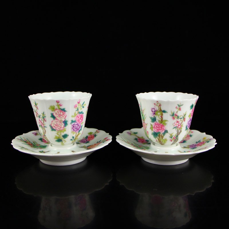 A Pair Chinese Qing Dy Famille Rose Porcelain Teacups