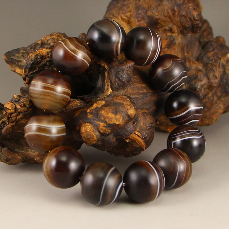 Vintage Chinese Natural Agate Beads Bracelet