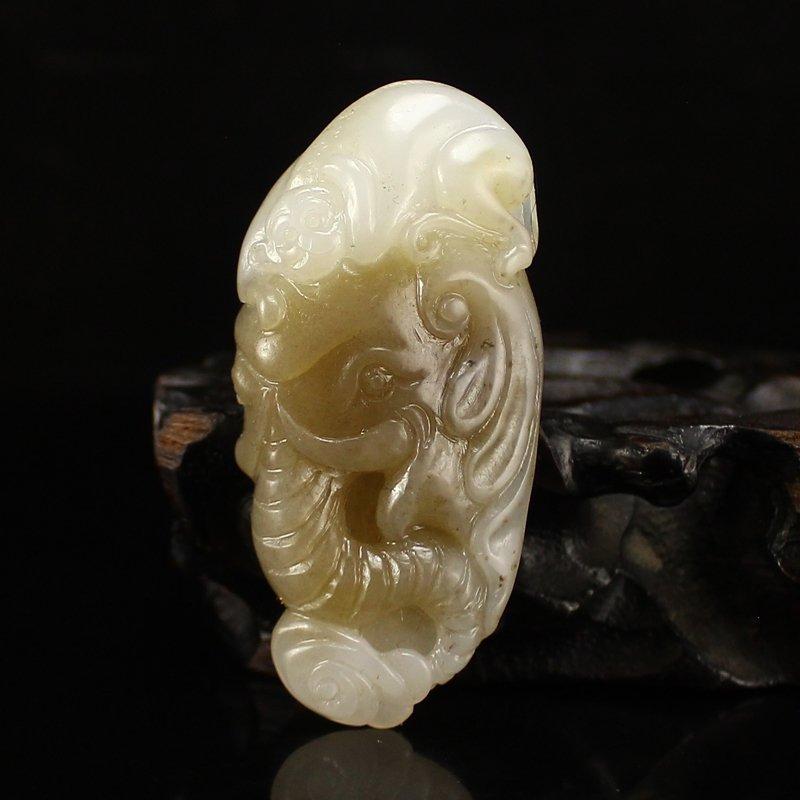 Chinese Natural Hetian Jade Fortune Elephant Pendant